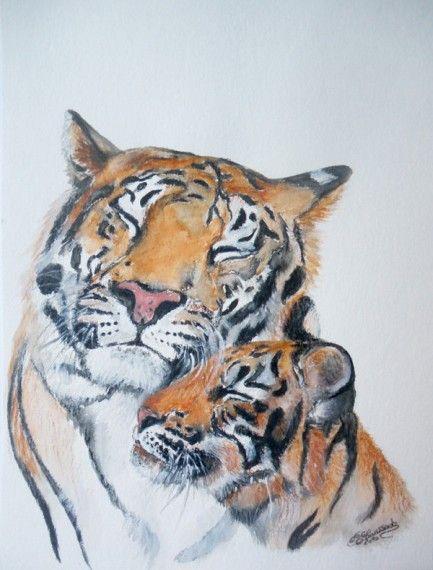 Calin des tigres tigre dessin la main peinture inspiration dessin pinterest tiger eyes - Dessin de calin ...