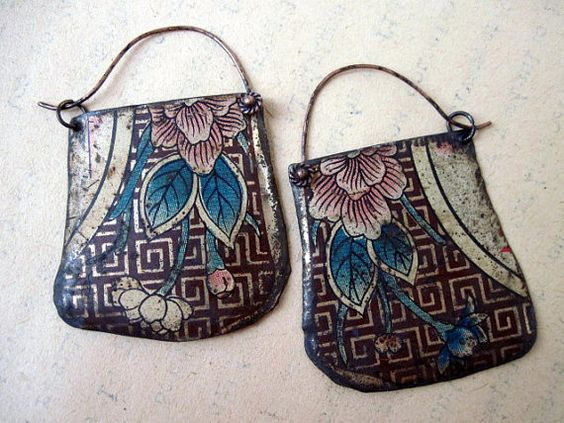 Soup Song. Rustic Gypsy Recycled Tin Earrings :: fancifuldevices Shop :: $45.00