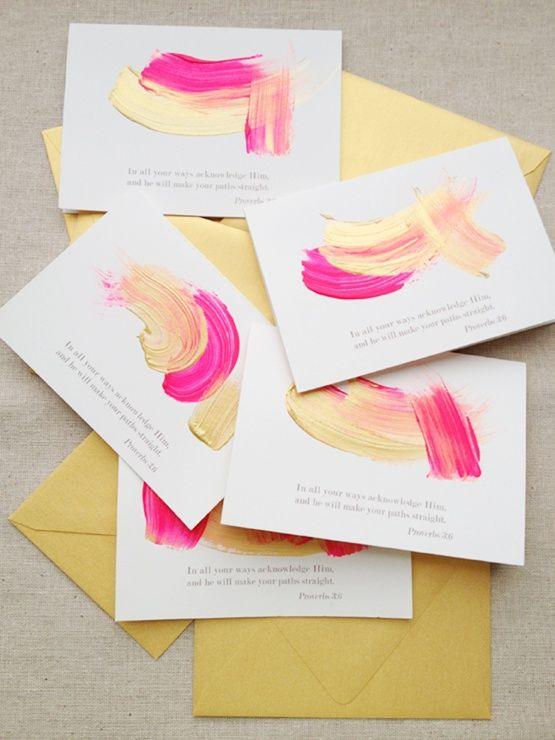 Mixed media business cards with touch of paint