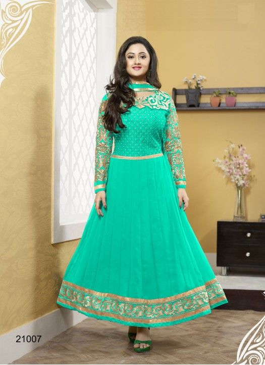 Bottom Fabric Santoon Celebrity Rashmi Desai Colour Green Dupatta Fabric Nazneen Fabric 60gm Georgette Fabric Care Dry Clean Only Inner Fabric Santoon Occasion Festival, Ceremonial Shipping time 7 days Type Anarkali Suit Work Stone Work, Embroidered