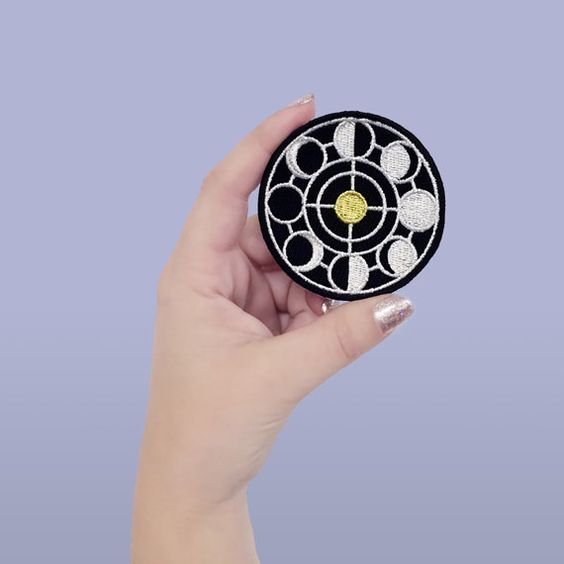 Moon phase patch   iron on   embroidered applique   black   gold ...