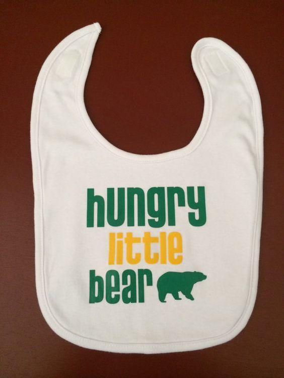 """#Baylor Bib - """"Hungry Little Bear"""" by Kris10sCrafts on Etsy, $9.00"""