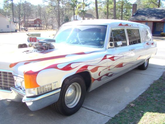 All Custom 1969 Cadillac Silver Hot Rod Hearse