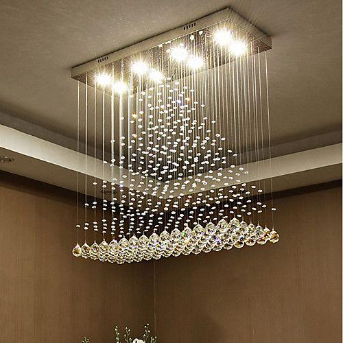 8 Light 80 Cm Crystal Bulb Included Designers Chandelier Metal Electroplated Chic Modern 110 120v 220 240v 2021 Us 347 02 Modern Crystal Chandelier Modern Crystal Light Modern Ceiling Light Fixtures