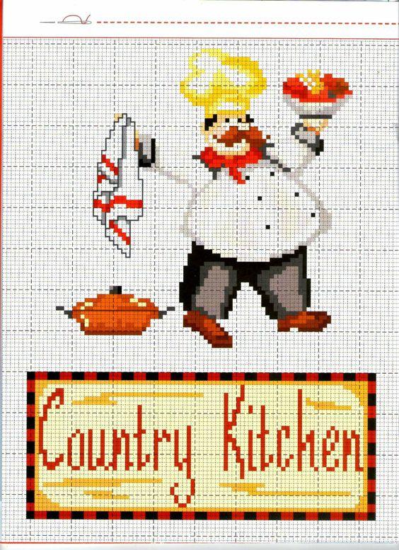 Cozinheiro- padrão livre ponto de cruz. ou Standard Chef- free cross stitch.