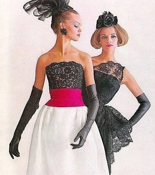 1961  Marola Witt (l) and Iris Bianchi (r) both wearing cocktail dresses by Luis Estevez