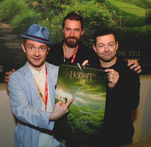 Martin Freeman, Richard Armitage, and Andy Serkis.I love Martin Freeman's hat.  That is all.