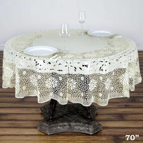 70 Ivory 10 Mil Thick Lace Vinyl Waterproof Tablecloth Pvc Round Disposable Tablecloth Vinyl Tablecloth Table Cloth Waterproof Tablecloth