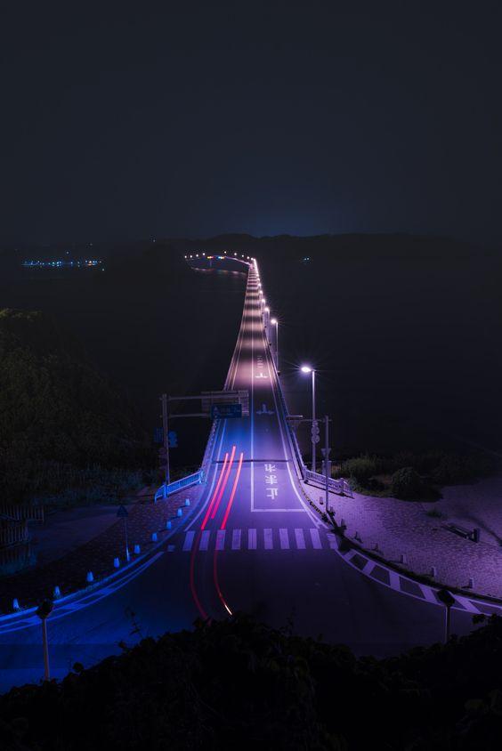 https://flic.kr/p/uTwJS2 | 角島大橋の夜景、テールライトの軌跡 | Nightscape of Tsunoshima-bridge
