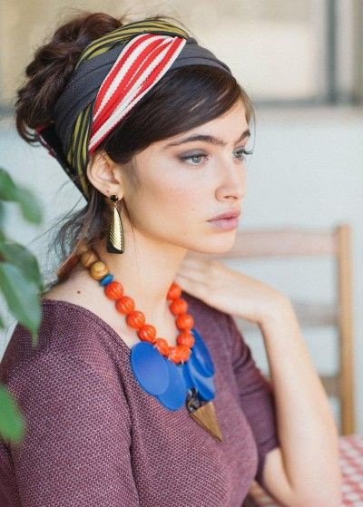 """Yellow, Red, & Gray """"Infinity"""" Half Head Covering"""