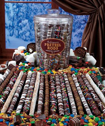 With their delicious combination of salty and sweet, gourmet pretzel rods are a yummy treat for the holiday season or anytime! They make a nice gift, too. Each reusable plastic tub has 20 individually wrapped pretzel rods dipped in chocolate then cov