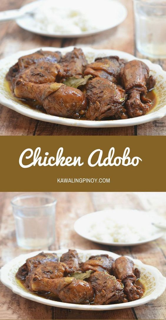 Chicken Adobo is a popular Filipino stew made with chicken simmered in vinegar, soy sauce, garlic, and onions. Flavorful and delicious with a garlicky savory sauce, it's perfect served wth rice
