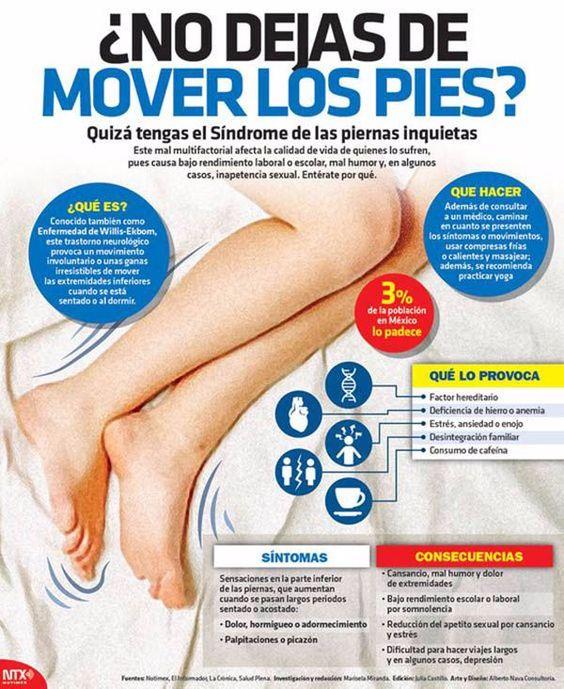 El síndrome de las piernas inquietas y sus síntomas. #infografía #salud: