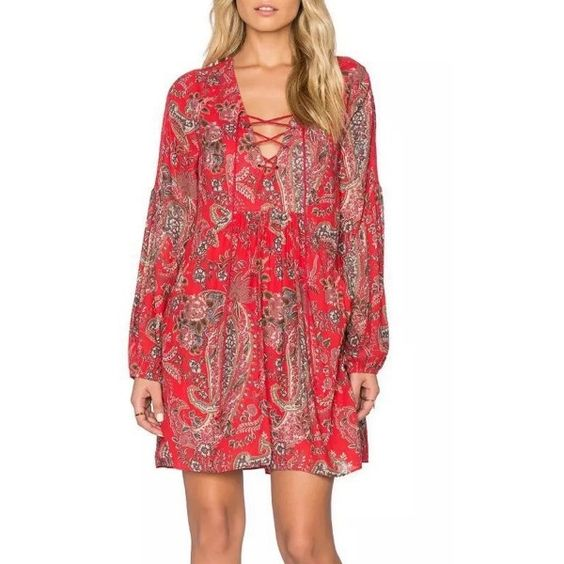 Casual Lace-up Front Floral Printing Chiffon Dress ($26) ❤ liked on Polyvore featuring dresses, red, long sleeve dress, floral print chiffon dress, longsleeve dress, red dress and long-sleeve floral dresses