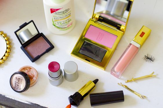 Everything you need for the perfect pink-and-gold spring makeup look.