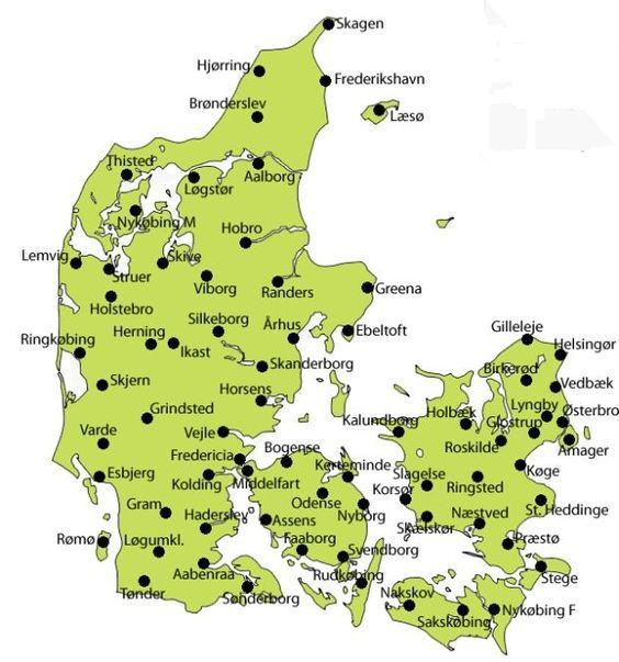 Map of Denmark Danmark Jutland jylland Funen fyn and – Germany Denmark Map