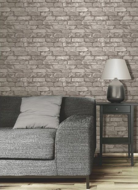 A little fakery brick effect wallpaper chaise lounge for Distressed brick wall mural