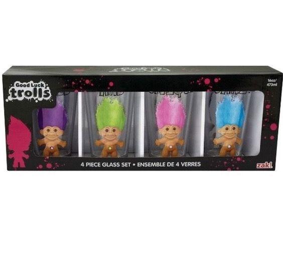 Zak! Good Luck Trolls Multicolored Trolls Pint Glass Set  4 pack – Beverate  #ZAK