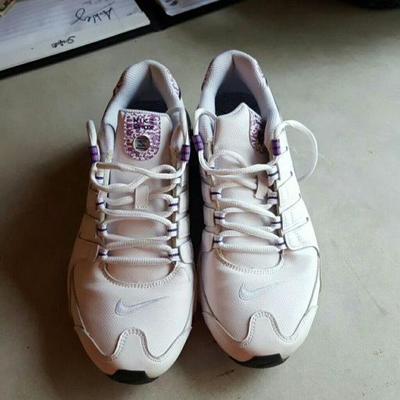 Nike Shox Purple and white nike shox almost brand new-only worn a few times Nike Shoes Athletic Shoes