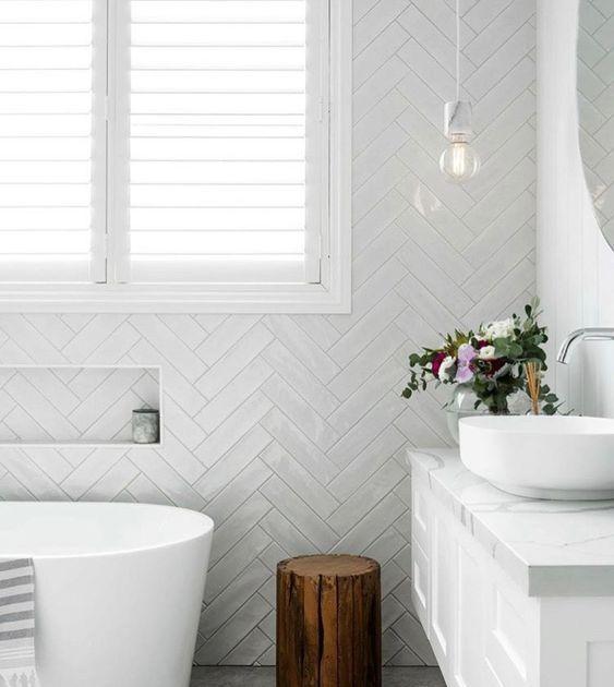 2019 Home Design Trends In 2020 Bathroom Interior Design Herringbone Tile Bathroom Bathroom Interior