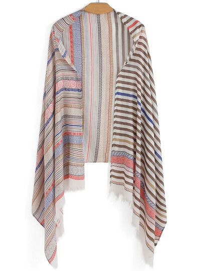 Multicolor Striped Fringe Scarve