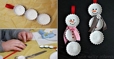 How to Make Bottle Cap Snowmen - DIY & Crafts - Handimania