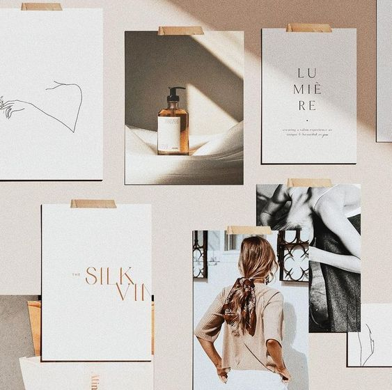 The most perfect mood board of all times! Collection of logo and graphic design inspirations in a minimalist, elegant style and a beautiful autumnal color scheme in pale red, neutral and mustard. #colorpalette #retro #vintage #lightandshadow #moodboard #brandingboard #logodesign #graphicdesign