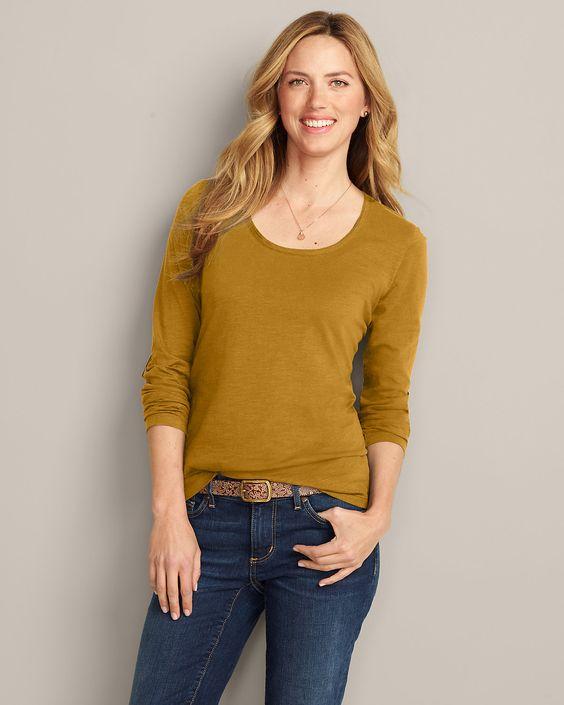 Long sleeve scoop neck basics Essential Slub Long-sleeve Scoop-neck T-shirt | Eddie Bauer