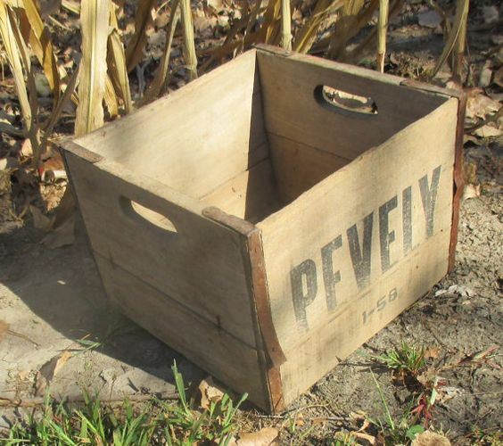 Wooden metal crate vintage advertising sign pevely dairy for Metal shipping crate