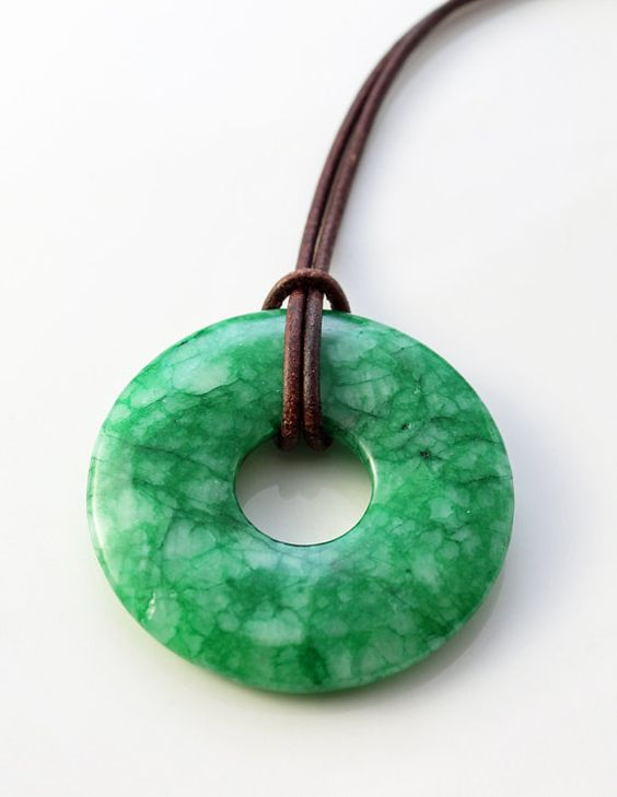jade necklace - bright green jade donut pendant on brown leather cord - unisex jade jewelry - jade pendant - jade pi bead by The Spiral River
