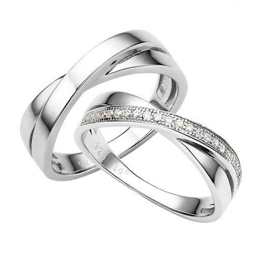 Wedding Ring Sets His and Hers Silver Couple by VANKLEJewelry