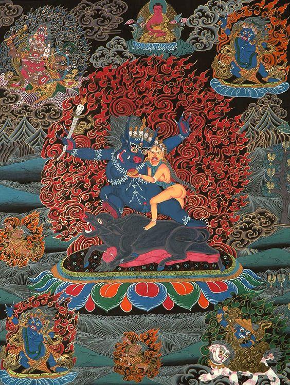 Dharmaraja Yama With Yami Protector Deities Dharmaraja Who Has