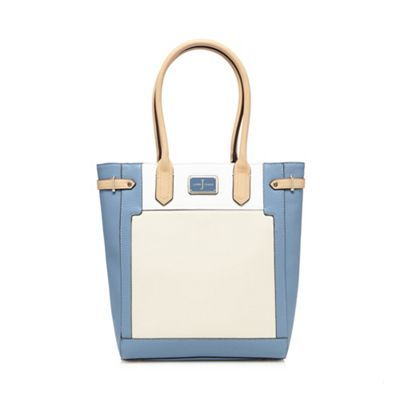 J by Jasper Conran Blue and cream grained tote bag | Debenhams