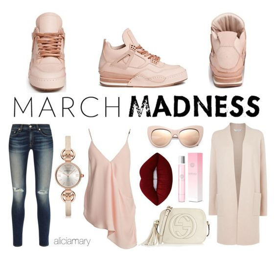 """""""March Madness High Tops"""" by aliciamary ❤ liked on Polyvore featuring Hender Scheme, rag & bone, Sans Souci, L.K.Bennett, Emporio Armani, Gucci, Versace, STELLA McCARTNEY, Lime Crime and hightops"""