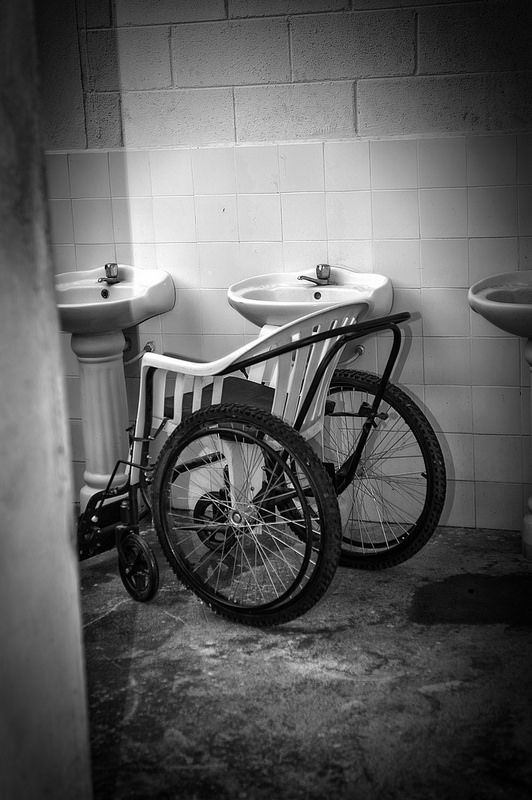 This wheelchair was found in a nursing home in Monjas, Guatemala. On the back of another like it, it had freewheelchair.org on it. I looked up the organization and the story behind it - you should too.Modified Wheelchair