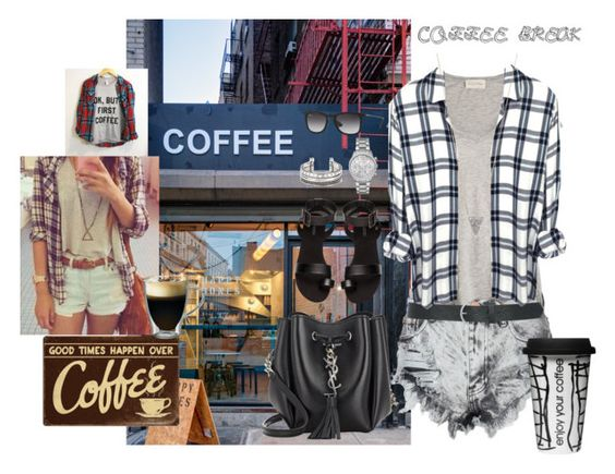 """COFFEE BREAK!"" by megalexan ❤ liked on Polyvore featuring Coffee Shop, Glamorous, American Vintage, M&Co, Adina Reyter, Michael Kors, Yves Saint Laurent, H&M, Dot & Bo and Starfrit"