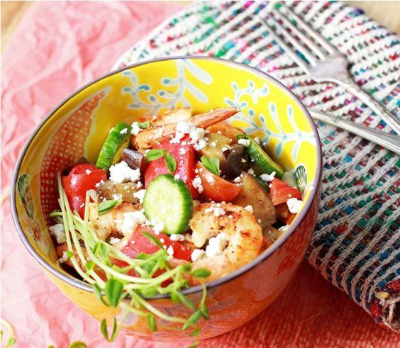Grilled Shrimp & Vegetables Mediterranean Salad