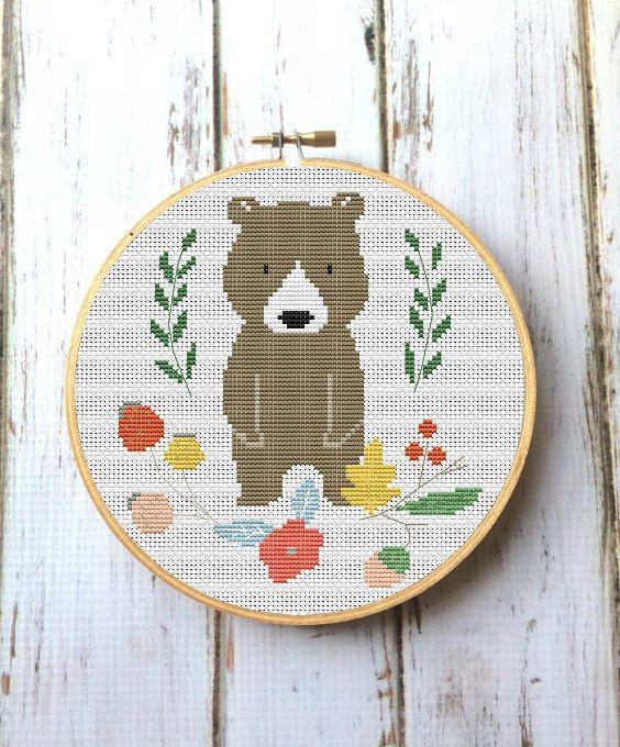 Bear cross stitch PDF Pattern Easy embroidery design Woodland animal embroidery pattern DIY nursery decor