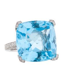 Asprey Blue Topaz and Diamond Ring