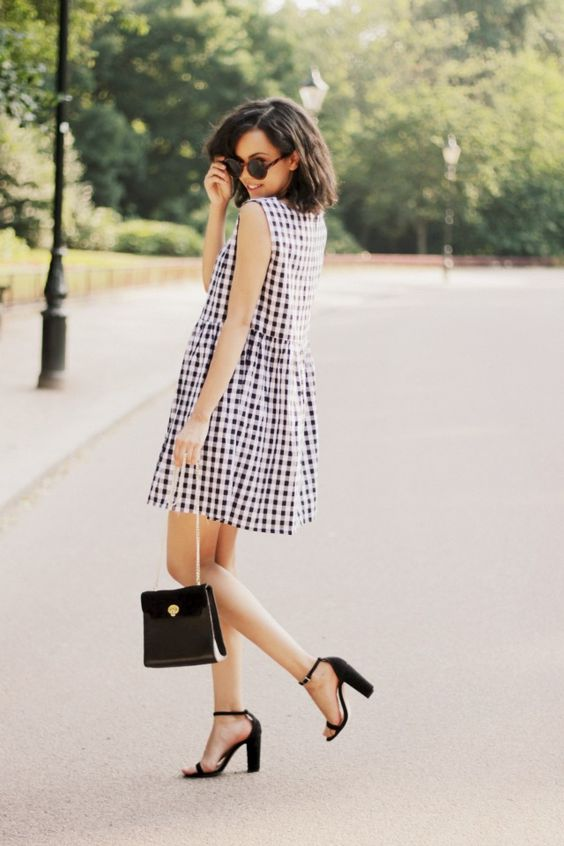 Street style - black & white gingham check ASOS dress; black heels; black clutch