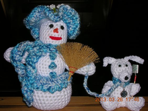 """""""Southern Belle"""" and her dog.. crocheted, complete with his own 'Pooper Scooper""""."""