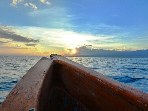 View from the boat in the morning at Tulamben Beach Bali