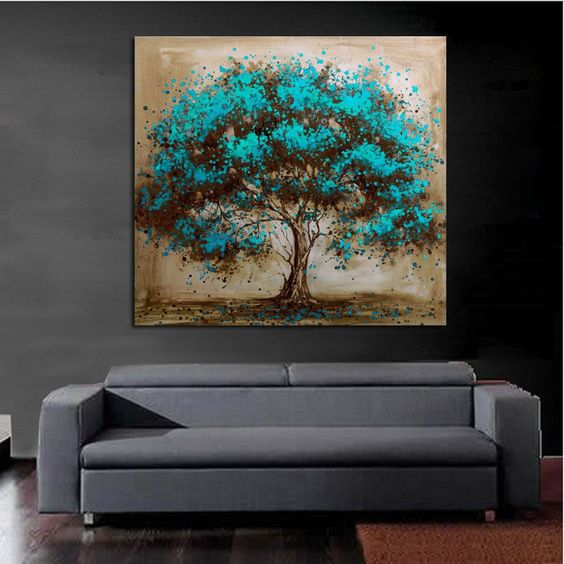 Handpainted moderne abstracte boom canvas kunst decoratie van blauw olieverfschilderij voor de - Muur decoratie ontwerp voor woonkamer ...