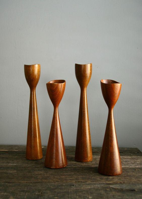 Teak Candle Holders   Danish Modern