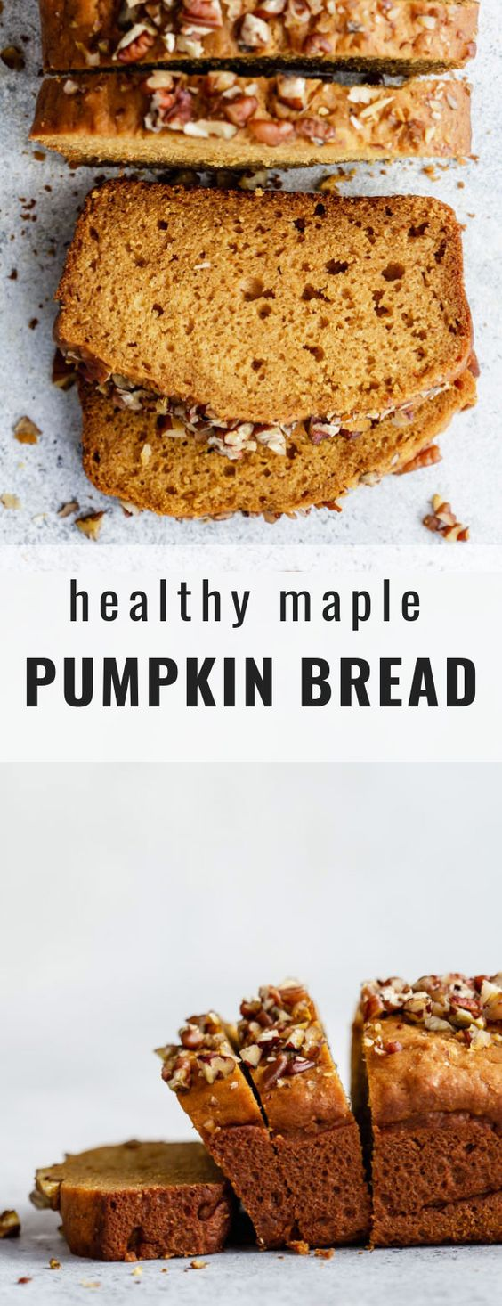 This healthy maple pumpkin bread recipe is the best! It's perfectly moist and spiced with all flavours! #pumpkinbread #fallrecipes #pumpkinrecipes #choosingchia