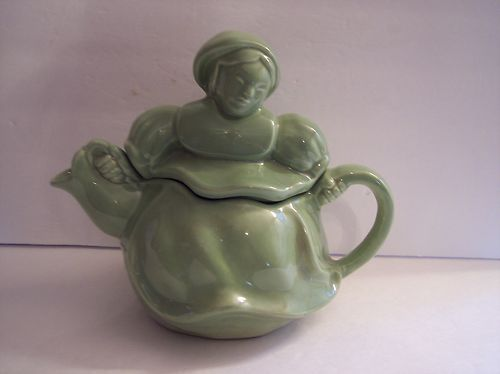 RARE Vintage Red Wing Art Pottery Green Lady Tea Pot Teapot 260 Excellent | eBay
