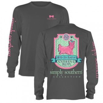 Simply Southern Long Sleeve Tee - Preppy Puppy on gray long sleeve tee. All the nice things are southern & preppy. #simplysouthern #puppy #southernandpreppy #shopblooming