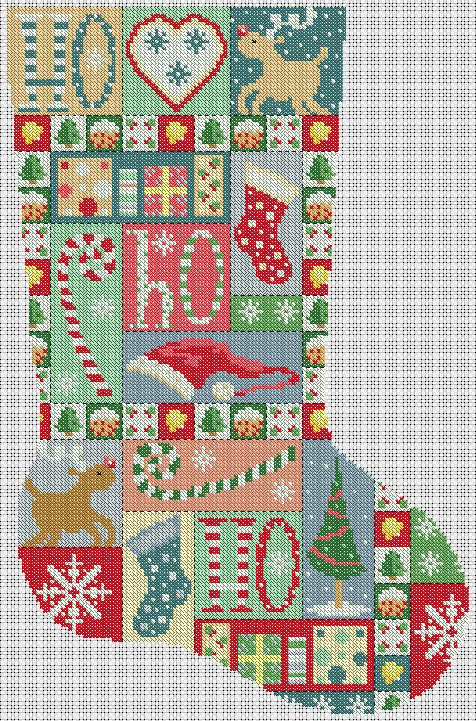 Vintage Patchwork Christmas Stocking Cross Stitch Pattern http://lucieheaton.com/cross-stitch-patterns-and-designs/christmas-cross-stitch-patterns/christmas-stocking-vintage-patchwork-cross-stitch-pattern