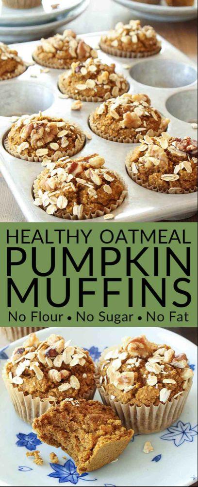 Healthy Pumpkin Muffins Recipe (No Flour, Sugar Free, Oil Free, Dairy Free)