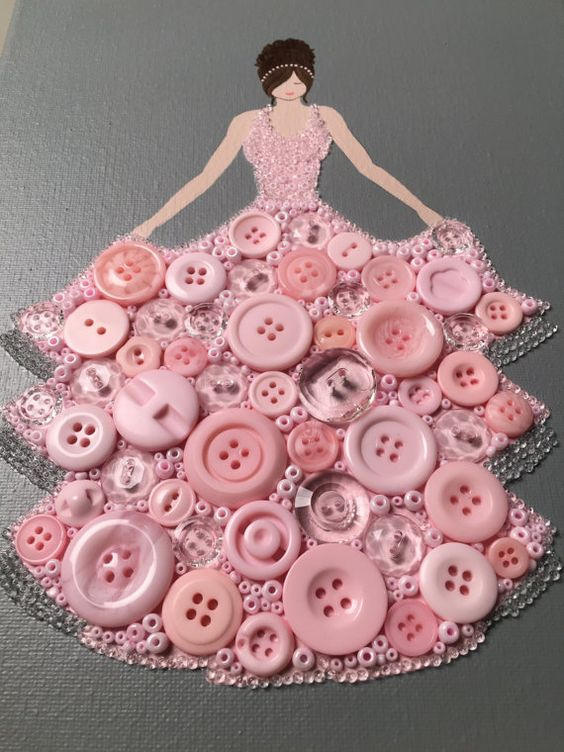 Button Princess Pretty and Pink
